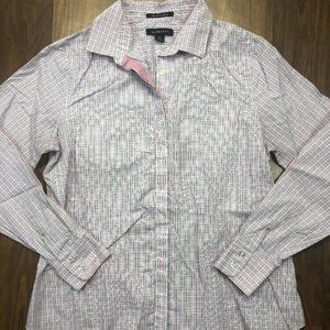 Lands End Sz 6P Pink Checkered Long Sleeve Blouse